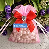 Drawstring Organza Jewelry Favor Pouches Wedding Party Festival Gift Bags Candy Bags with Love Design Bow-Knot 2.7*3.5 in/7*9 cm (Pink)