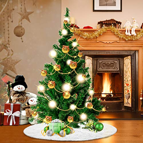 Kustares Christmas Tree Skirt - 30.7 Inches White Christmas Tree Skirt, Suit for Pencil Christmas Tree, Pet Favors for Xmas Tree Decorations and Ornaments Longish Plush Fur -