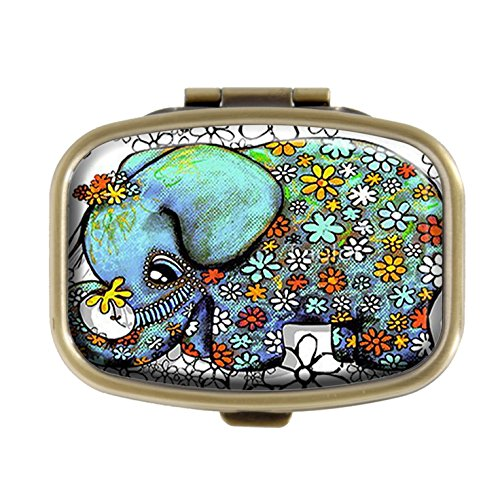 - Top A Elephant Custom Personalized Square Pill Box Decorative Box Vitamin Container Pocket Or Wallet (Elephant-3)