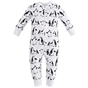 Owlivia Organic Cotton Baby Boy Girl Zip up Sleep N Play, Footless, Long Sleeve (Size 0-18 Month)(6-12Months,Penguin)