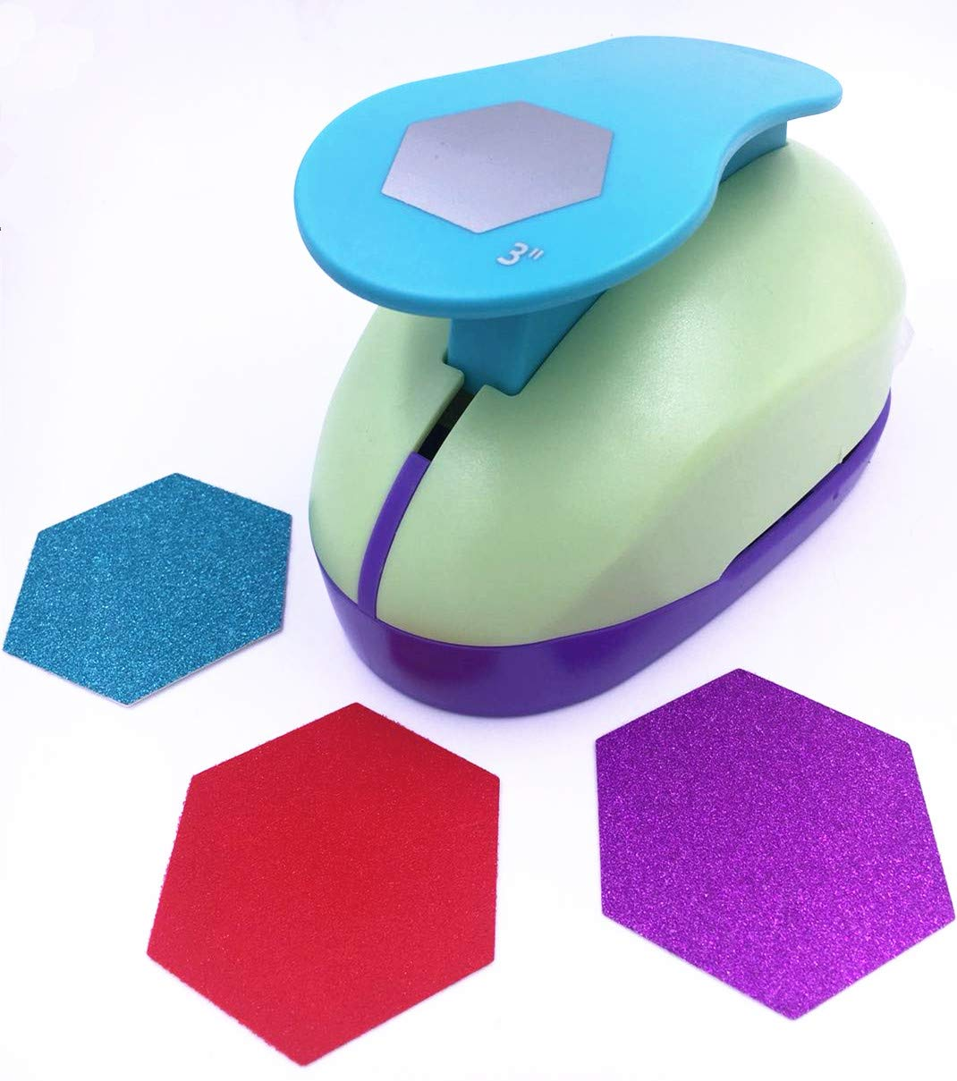 TECH-P Creative Life XXX-Large Shape Size 3-Inch(7.5cm) Multi-Pattern Hand Press Paper Craft Punch,Card Scrapbooking Engraving Kid Cut DIY Handmade Hole Puncher,Paper Craft Punch (Hexagon)