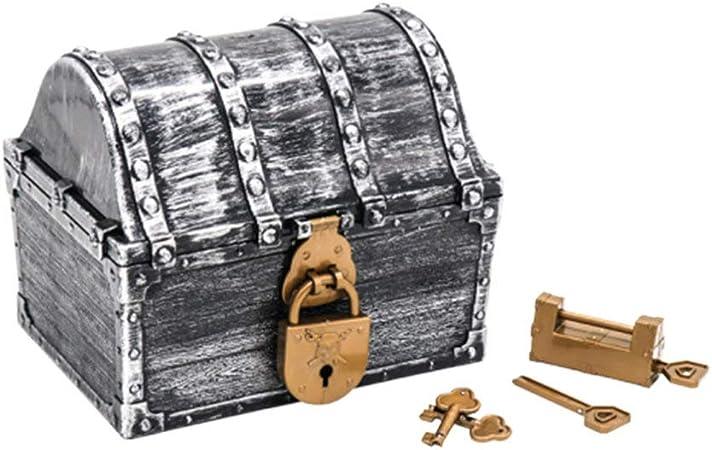 TOYANDONA Cofre Del Tesoro Pirata Caja de Dulces Retro Caja de Almacenamiento de Joyas Cajas de Recuerdos Organizador de Juguetes con 2 Cerraduras para Decoración Del Hogar 17X14x13 Cm (Plata): Amazon.es: Hogar