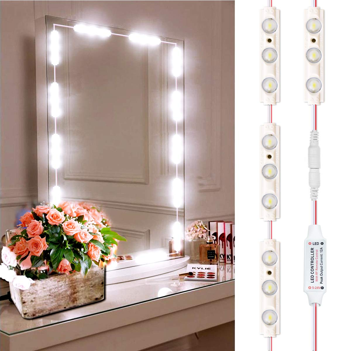 Led Mirror Lights, INKERSCOOP Vanity Light Strip Kit, DIY Bathroom Makeup Cosmetic Mirror Light with Remote and Dimmer Switch, 12Ft 25Groups 75Leds White Lights