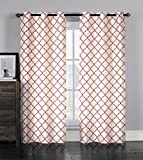 Single (1) Grommet Window Curtain Panel: Faux Silk, Moroccan Trellis Design, 38″ x 96″ (Ivory with Burgundy) For Sale