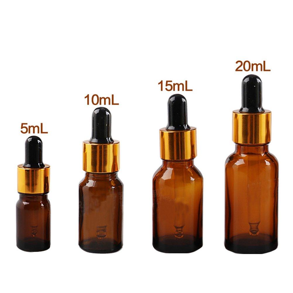 Conjunto de 5 botellas de cristal vacías, 10 ml, para aceites esenciales, con cuentagotas de cristal, aptas para aromaterapia, cuentagotas para ojo y oído, marrón erioctry