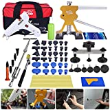 Super PDR 51pcs PDR Tool Set Automobile Car Body Paintless Dent Repair Remover Tools Kit Hail Damage Repair Tools Dent Lifter Bridge Puller Glue Gun with Slide Hammer