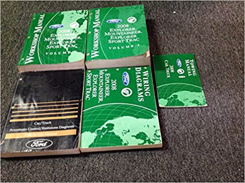 2008 ford mercury explorer & sport trac mountaineer service shop repair  manual set w ewd + pced paperback – 2008