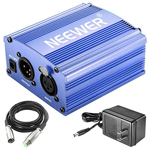 Neewer 1-Channel 48V Phantom Power Supply with Adapter and XLR Audio Cable for Any Condenser Microphone Music Recording Equipment (Blue) (Blue Power Supply)