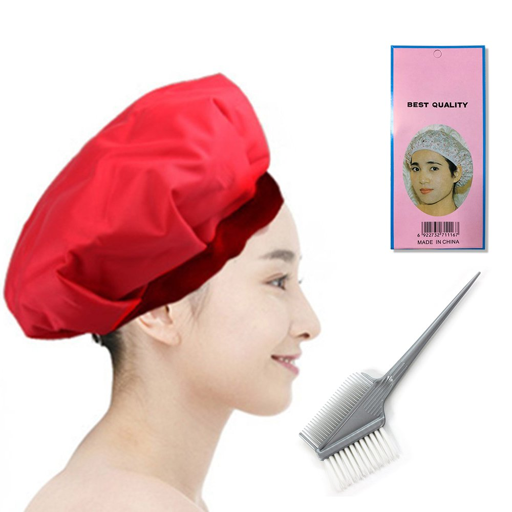 Cordless hot oil treatments CapBetterhill Safe Hair Dryer Heating Cap By Microwave Heating for Deep Penetrating Hair and Scalp Treatments(Red)+ Free Shower Cap and Coloring Brush