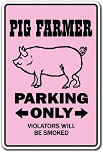 None Brand Pig Er Pigs Parking Hog Sow Pork Bacon Piggy Country Ham Tin Retro Sign Vintage Metal Poster Plaque Warning Signs Iron Art Hanging Wall Decoration Yard Cafe Bar Pub Club Gift 20X30 cm