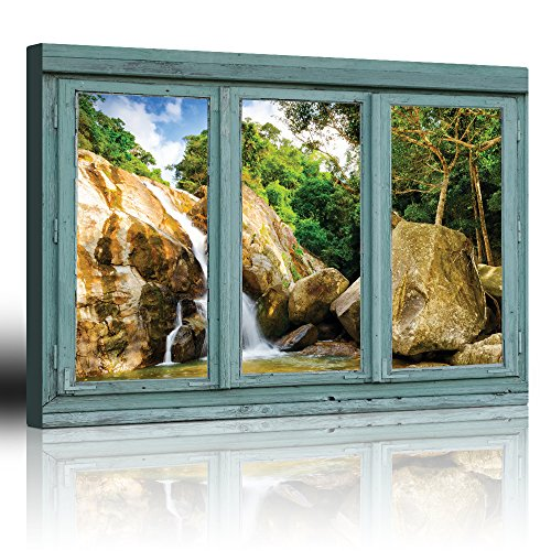 Vintage Teal Window Looking Out Into a Rocky Waterfall