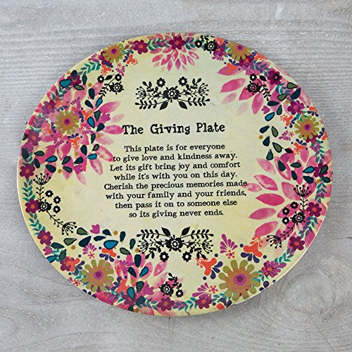 Natural Life Cream & Pink Flowers Melamine Giving Plate