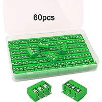 FULARR® 60Pcs Premium 3 Posición 3 Pines Plug-In PCB Terminal Bloque, 5.08mm Pitch PCB Montaje Tornillo Terminal Bloque…