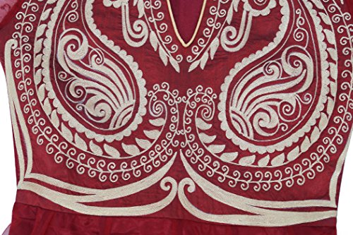 Churidar mit Netzkleid und Atasi Dupatta Beige gestickten Kurti Kastanienbraun Anarkali Designer von qw44x7g8t