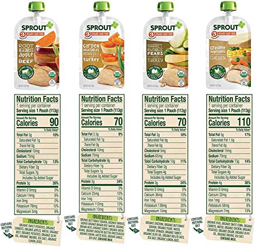 Sprout Organic Baby Food Pouches Stage 3, Organically Sourced Meat And Plant Protein Variety Sampler 8 Flavor, 4 Ounce Pouches (Pack Of 12)