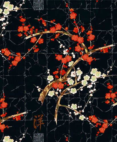 The Beauty of Cherry Blossoms: Black - Asian Japanese Floral Quilt Fabric (By the Half Yard)