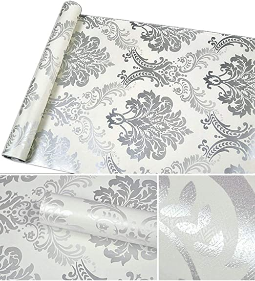 Amazon Com Amao Grey Damask Peel And Stick Wallpaper Self Adhesive Vinyl Shelf Liner For Cabinets Sheves Livingroom Wall Decal 17 7 X79 Home Kitchen