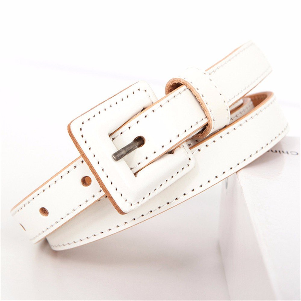 SAIBANGZI Ms Women All Seasons Fashion Head Coat Leather Belt Fine Decorate Dress Waist Seal Belt Girlfriend Present White 85-95Cm
