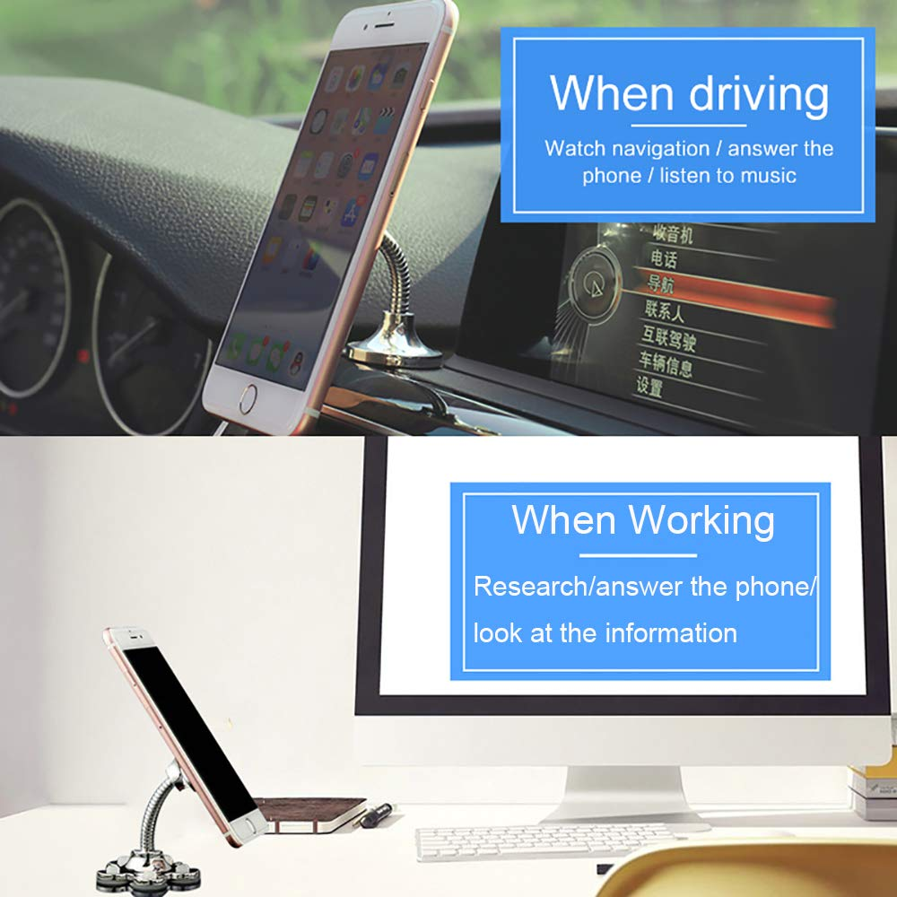 4 PCS Magic Suction Cup Car Phone Holder 360/° Rotatable Multi-Angle Dashboard /& Windshield Suction Phone Mount,New Car Creative Mobile Navigation Bracket Desktop Phone Bracket Universal