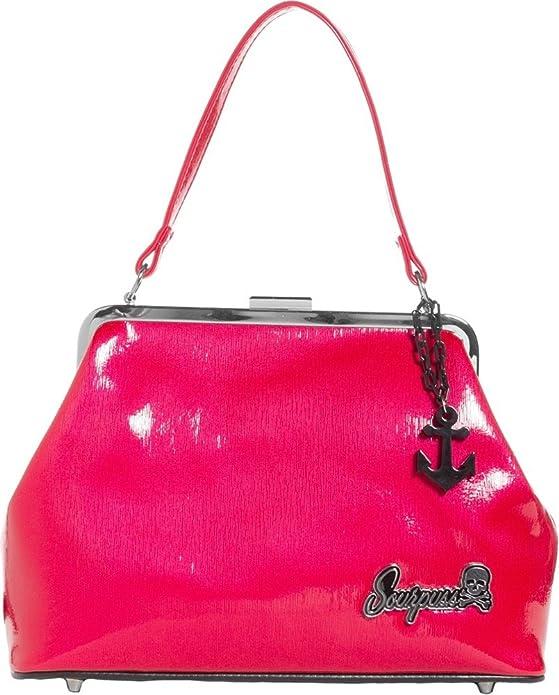 1950s Handbags, Purses, and Evening Bag Styles Sourpuss Brand - Raspberry Betsy Purse with Black Anchor Charm $49.99 AT vintagedancer.com