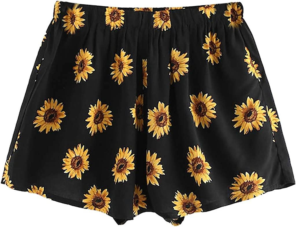 Shorts Damen Sommer Dasongff M/ädchen Sonnenblume Floral Bedruckt Hot Pants B/öhmen Hohe Taille Kurze Hose Strandhosen Freizeit Rock Shorts Elegant B/öhmen Vintage Mini Hotpants