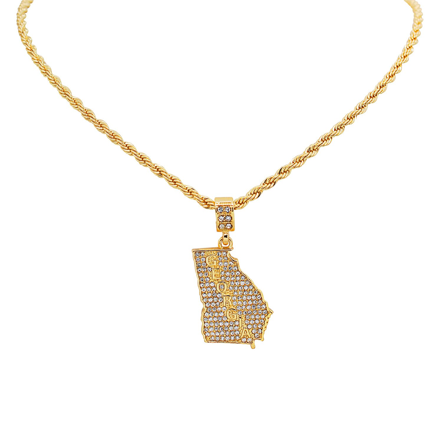 Yellow Gold-Tone Hip Hop Bling Simulated Crystal Peach State Georgia Map Pendant with 24 Tennis Chain and 24 Rope Chain