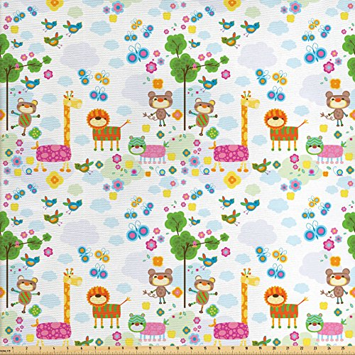 Ambesonne Nursery Fabric by the Yard, Floral Background with Funny and Cute Animals Giraffe Lion Monkeys and Butterflies, Decorative Fabric for Upholstery and Home Accents, (Monkey Upholstery Fabric)