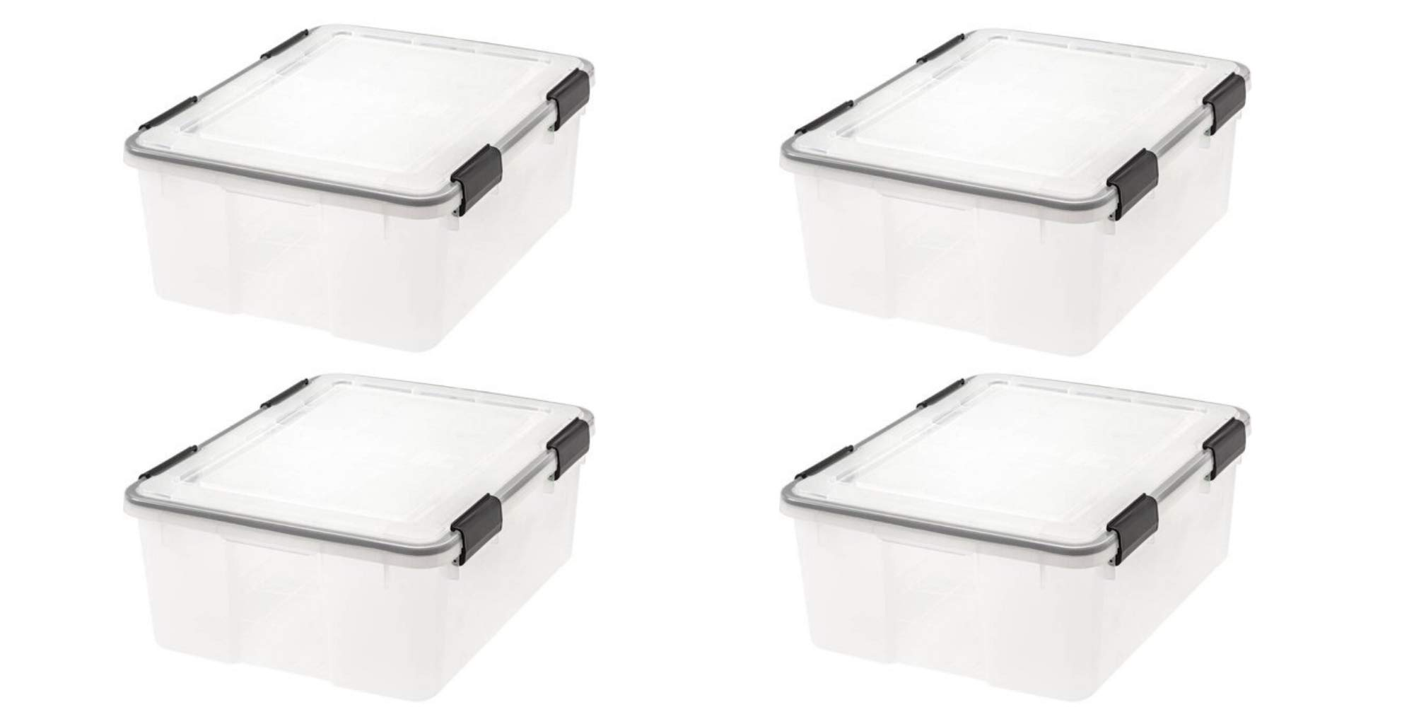 IRIS 30 Qt./7.5 Gal. WEATHERTIGHT Storage Box, Clear/Pack of 4