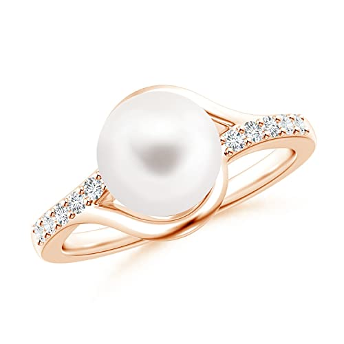Angara Freshwater Cultured Pearl Solitaire Bypass Ring zrEMq7JtPn