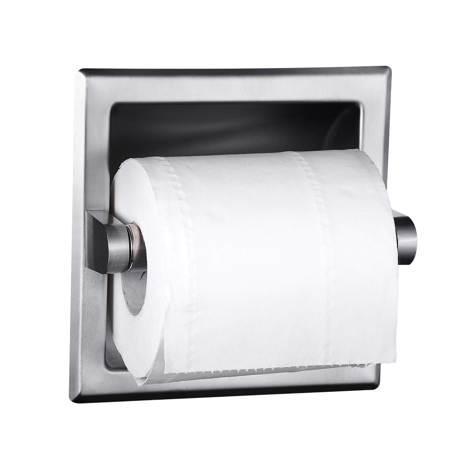 POKIM Black Recessed Toilet Paper Holder//Tissue Paper Holder Stainless Steel Toilet Paper Holder in Wall for Bathroom Accessories Rear Mounting Bracket Included