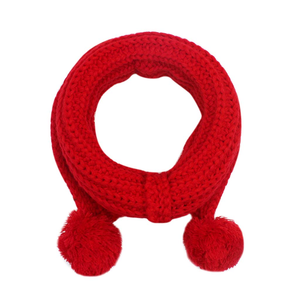 Aibearty Kids Infinity Scarf Solid Color Warm Knit Collar Scarves with Pompom Ball