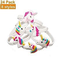 Unicorn Bracelets, Pyhot Kids PVC Rubber Wristband for Children's Birthday Christmas Gift Party Favors Supplies (24pcs, 8 Styles)