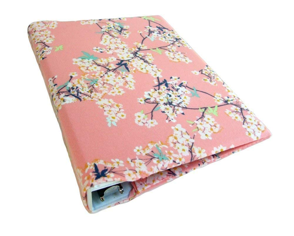 Planner Binder Cover for 1''-1.5'' MINI Binder, CHERRY BLOSSOMS Stretch Fabric Binder Cover, Floral Planner Cover a5
