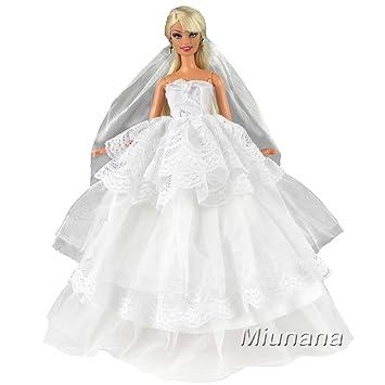 Miunana 1 Vestido de Novia con 1 Velo Vestir Boda Ropa Princesa para Muñeca Barbie Doll