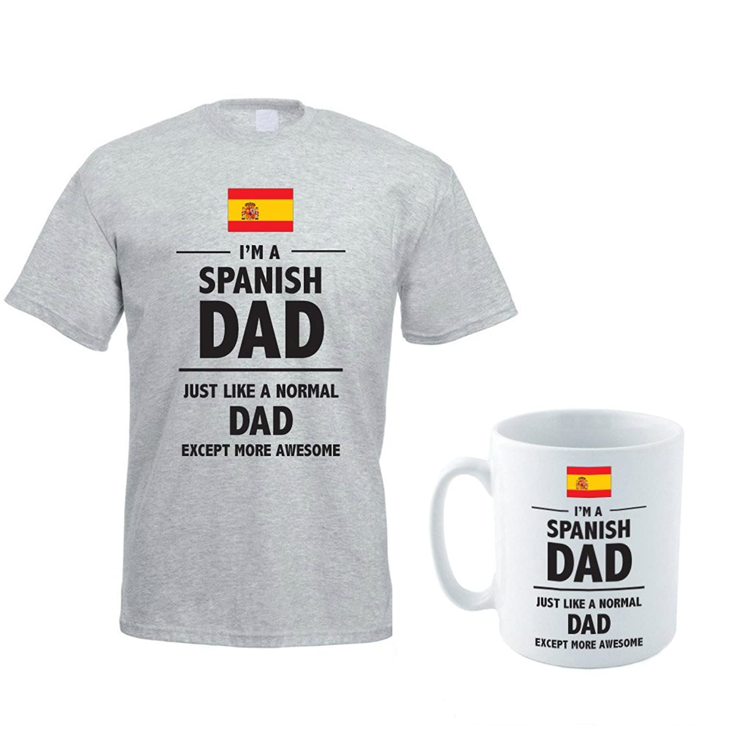 I'M A SPANISH DAD JUST LIKE A NORMAL DAD EXCEPT MORE AWESOME - Spain / Fun / Gift Idea Men's T-Shirt & Ceramic Mug