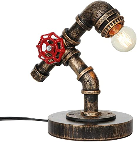 Tin Lizzy Lamp steam gauge and vintage cord color options Red - Industrial Pipe Lamp with onoff valve antique brass