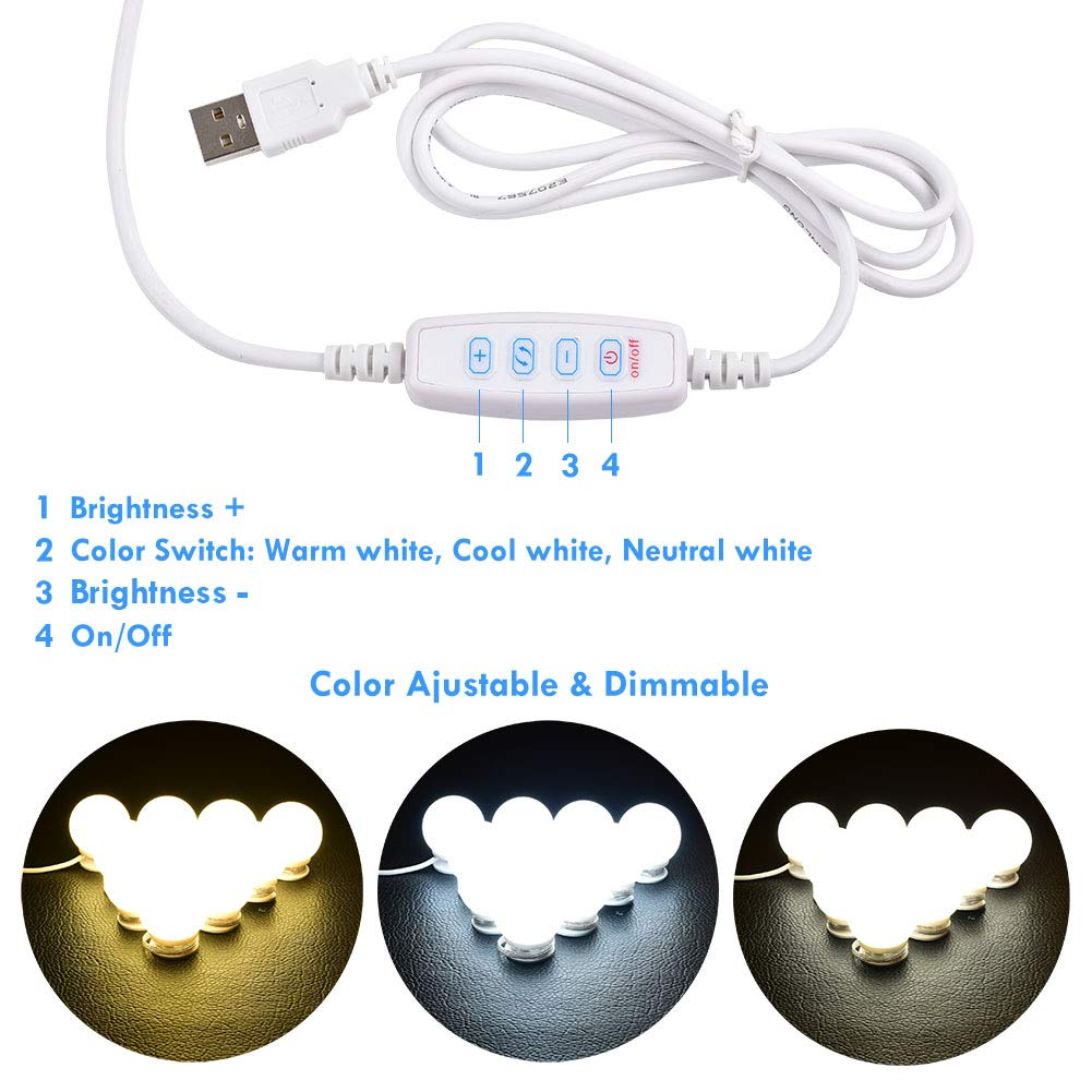 Power Plug 10 Lights Daylight Dimmable Switch Mirror Not Included Lvyinyin Vanity Lights Kit Hollywood Style Makeup Led Light Bulbs With Stickers Attached To Bathroom Wall Or Dressing Mirrors Vanity Lights