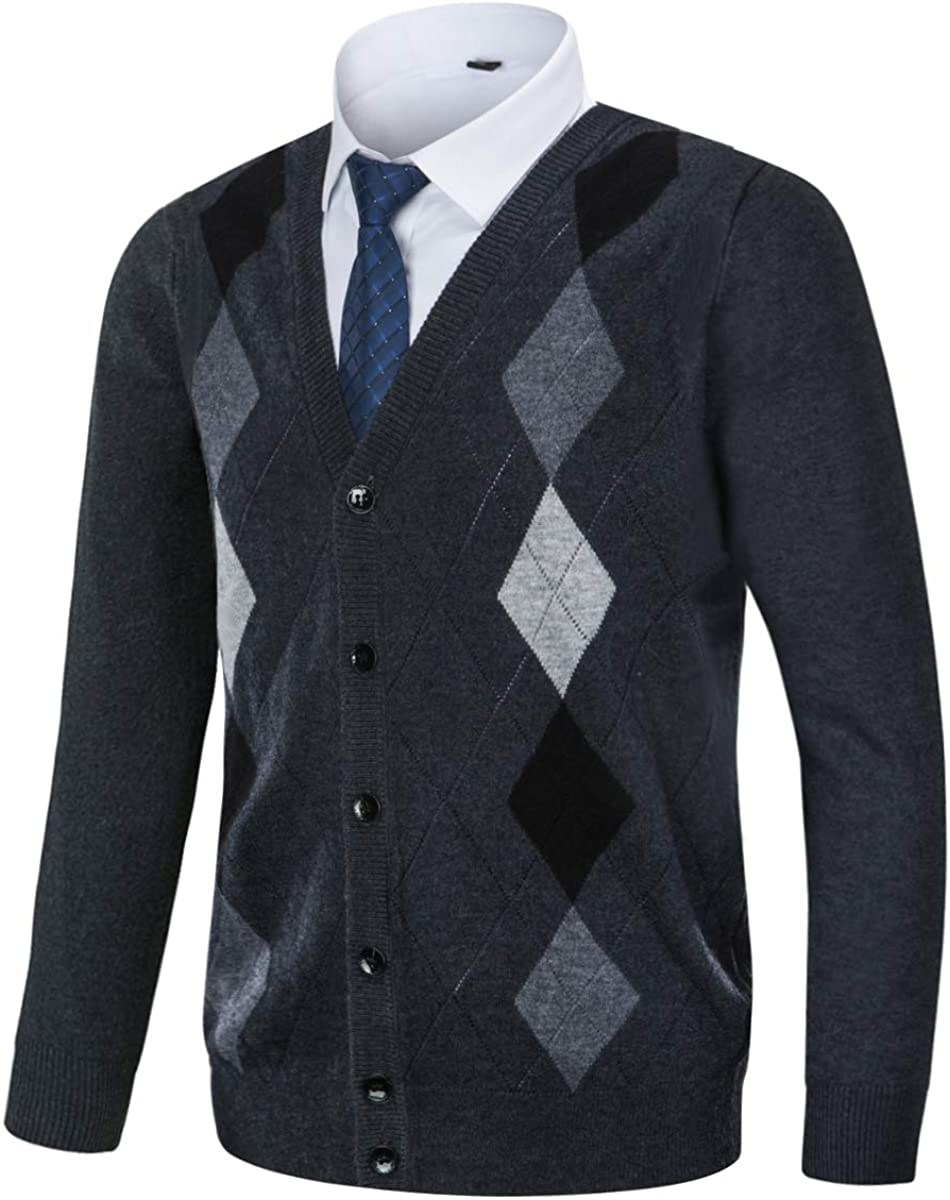 Yingqible Mens Casual Slim Fit V-Neck Argyle Cardigan Sweater Vest Long Sleeve Knit Sweater with Front Button