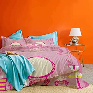Girls 3-Piece Duvet Cover Set Lady Sitting in front of French Cosmetic Make Up Mirror Furniture Dressy Design Printed Modern Bedding Set Pink Yellow – Comforter Cover and 2 Pillow Shams Full Size