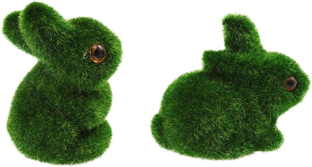 Amosfun 2Pcs Green Artificial Moss Balls Rabbit Bunny Shape Decorative Stones for Aquariums Vases Table Terrarium Easter Party Decor (Green)