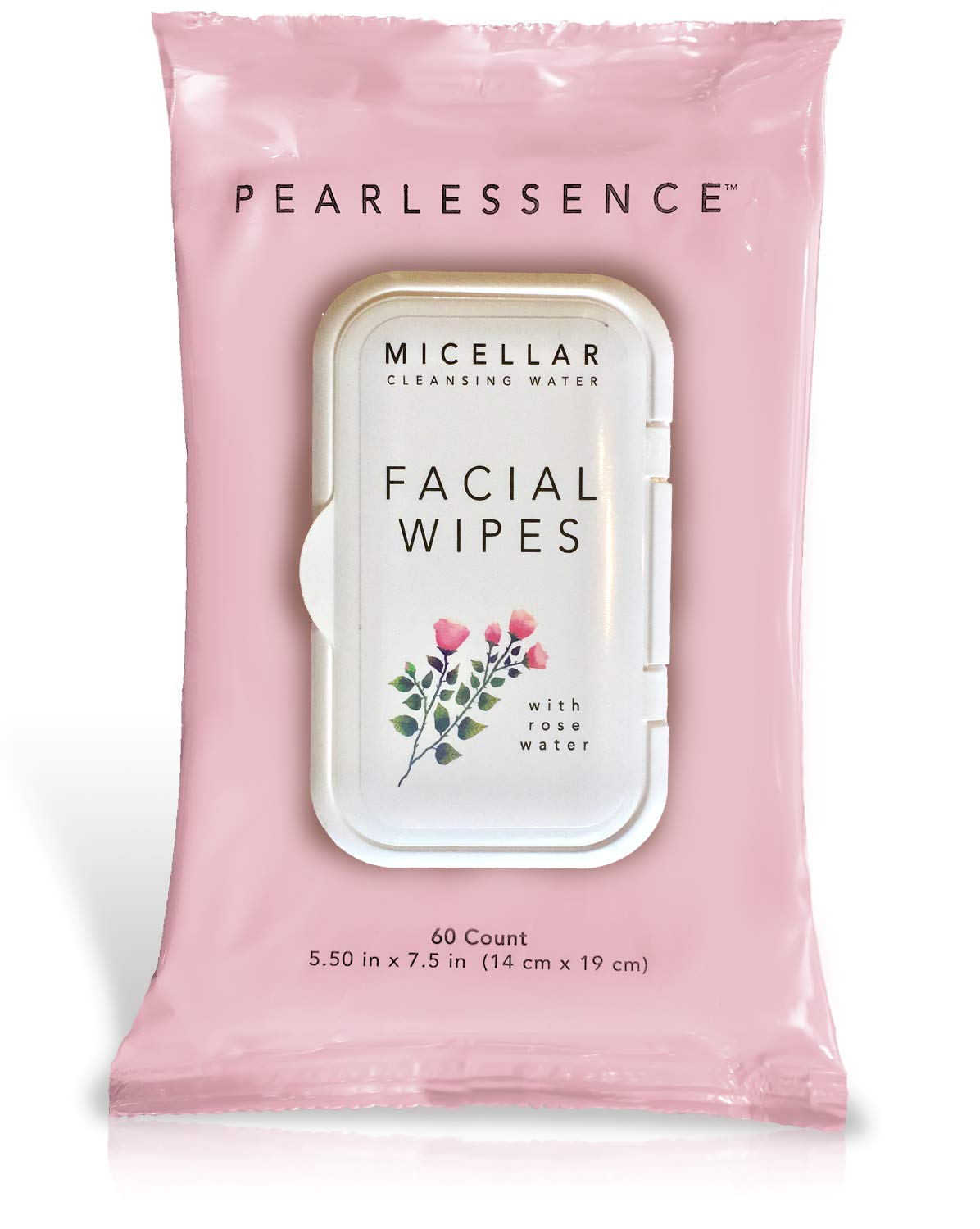 Micellar Cleansing Facial Makeup Remover Wipes w/Rose Water, 60 Count (1 Pack)