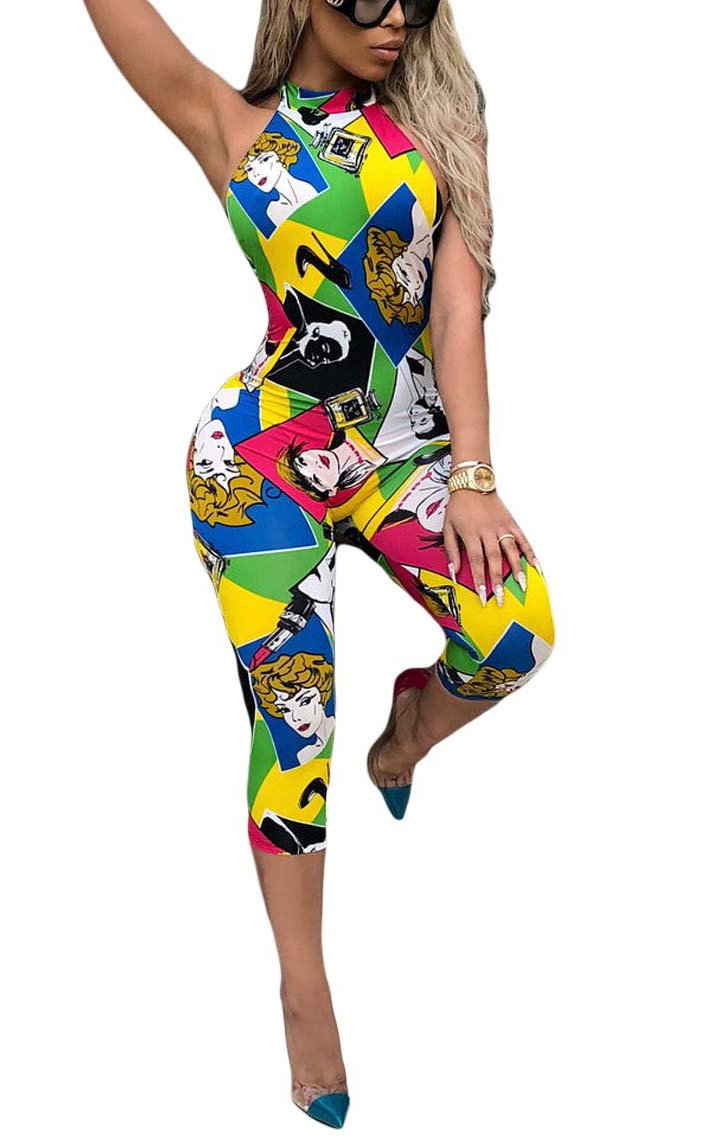 Aleng Women's Sexy Halterneck Jumpsuits Sleevless Backless Graffiti Cartoon Print Capris Jumpsuits Romper Multi XX-Large