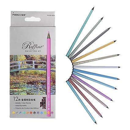 Lot 12pcs Crayons Couleur Métallisés Pour Dessin Esquisse Coloriage