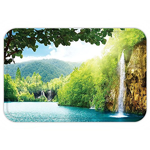 Kisscase Custom Door MatWaterfall Decor Croatian Lake Landscape in Forest with Mountain View Background Artwork Green and Blue