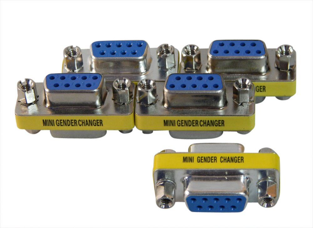 5 Pack of DB9 (serial 9 pin ) Female to Female Adapters.