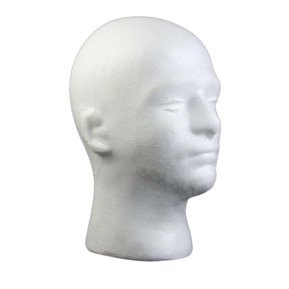Kerocy Foam Manikin Head Model Male Mannequin Styrofoam Wig Glasses Displaying Stand 2Pcs