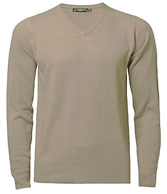 6948a174a31dc3 Kensington Mens Jumper Soft Cashmillon Fashion V-Neck Sweater Knitwear  Pullover, Stone,S