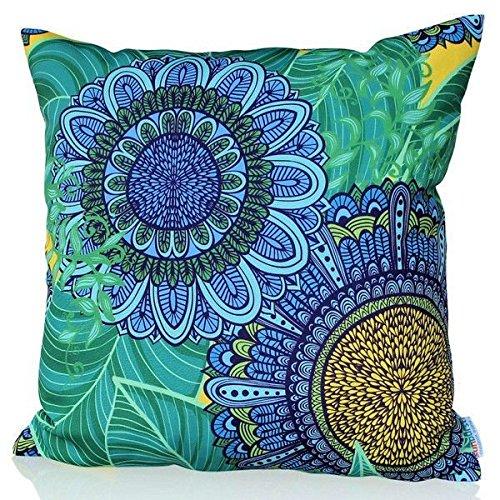 Dekorativer Kissenbezug/Kissenhülle 60cm x 60cm BLUE CANDY Hochwertiger Dekokissen-Bezug für Couch, Bett oder Sofa mit Blumen-Muster von Sunburst Outdoor Living - Nur Bezug, Ohne Kissen
