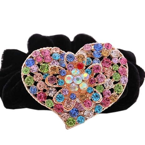 [3 piezas] accesorios de pelo de boda elegante Rhinestone Ponytail sujetadores corbatas, D