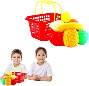 Toy Cubby Pretend Play Party Toy Kid's Shopping Fruit Basket with Fruits Set - 9 Pieces Fruit